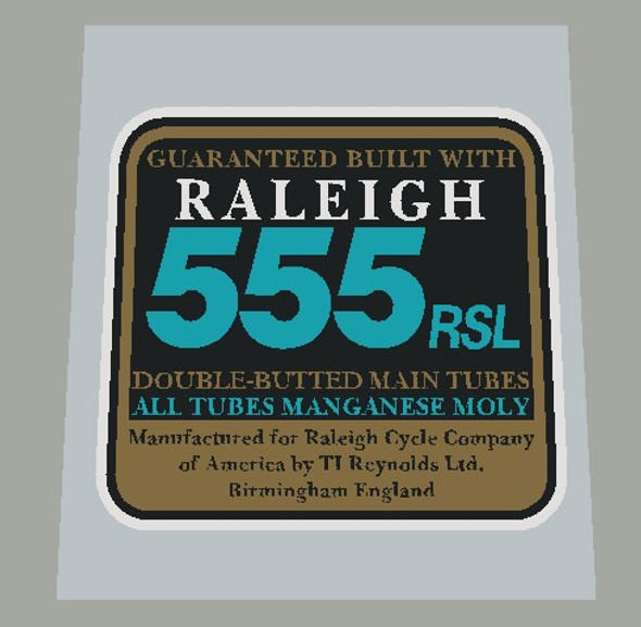 Raleigh 555 RSL Double Butted Tubing Decal