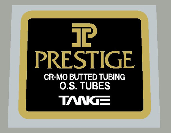 Tange  Prestige CR-MO Butted Tubing O.S. Tubes Frame Tubing Decal on Mirror Gold- 1 Piece