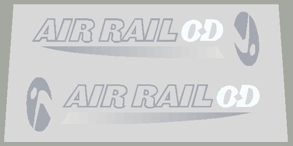 Trek Air Rail with icon Left and Right Fork Decals - Silver and white
