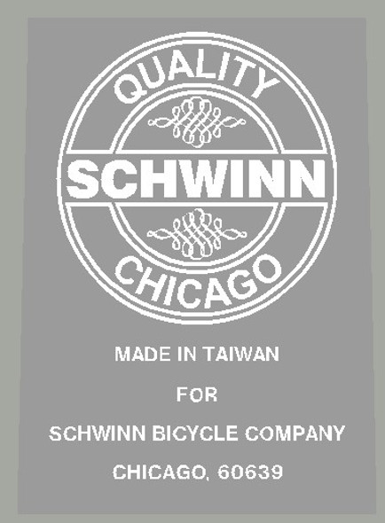 Schwinn Seat Tube Badge Decals Made in Taiwan with Filigree - Choose Color