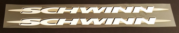 Schwinn Down Tube Decals  Extended w/Brushed Silver - 1 Pair - Choose Colors