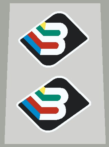 Basso Fork Decals With White Outline/Letter - 1 Pair