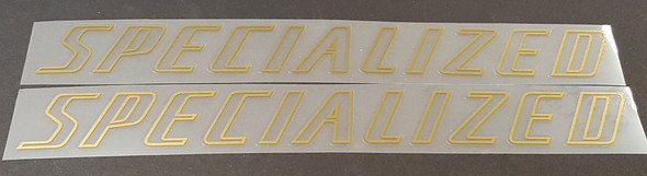 Specialized Large Down Tube Decals Clear w/Outline  - 1 Pair - Choose Outline Color