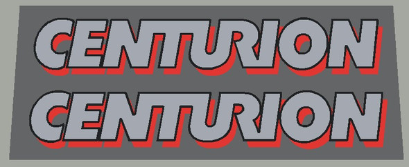 Centurion 1985 Down Tube Decals  With Shadow- 1 Pair - Choose Colors