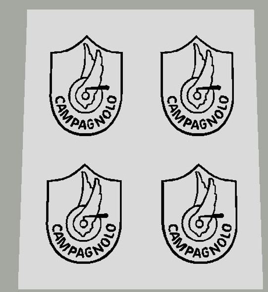 Campagnolo Crank Decal badges - black on clear 2 Pair