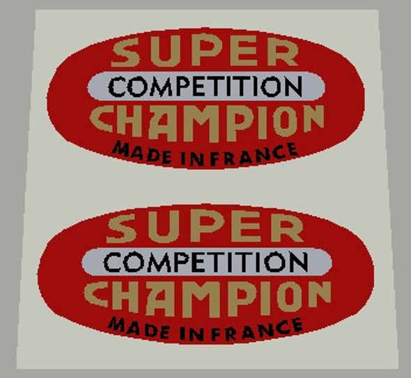 Super Champion Competition Red Rim Decals On chrome - 1 Pair
