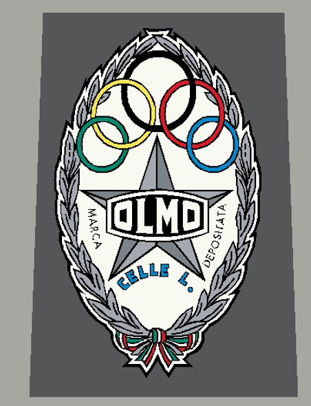Olmo 1960's Head Badge Decal Silver and Blue - 1 Piece