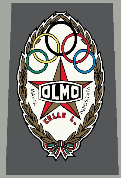 Olmo 1960's Head Badge Decal Gold and Red - 1 Piece