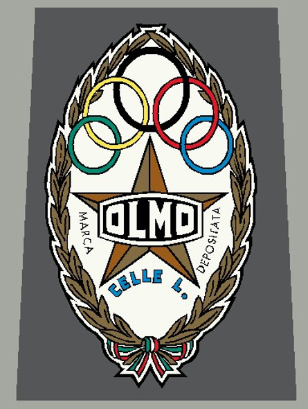 Olmo 1960's Head Badge Decal Gold and Copper - 1 Piece