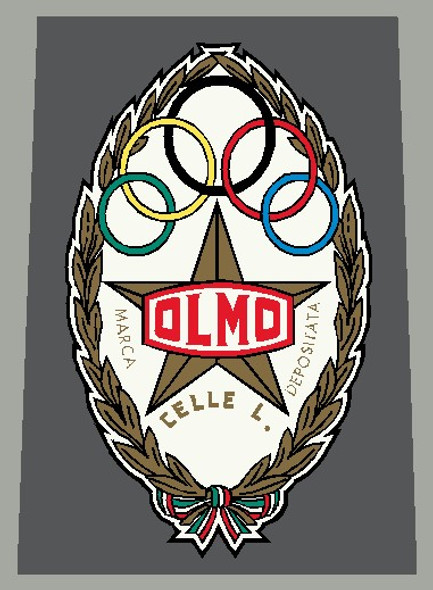 Olmo 1960's Head Badge Decal Gold with Red Olmo- 1 Piece