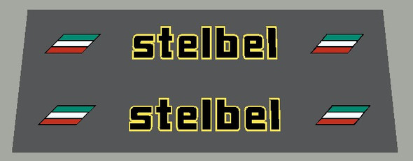 Stelbel Stay Decals with Italian bands- Choose Letter/outline color - 1 Pair