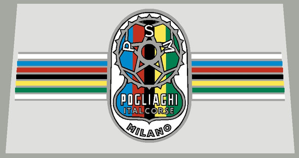 Pogliaghi Bicycle Chrome Small Head Badge Decal with 7 color 20mm Stripes