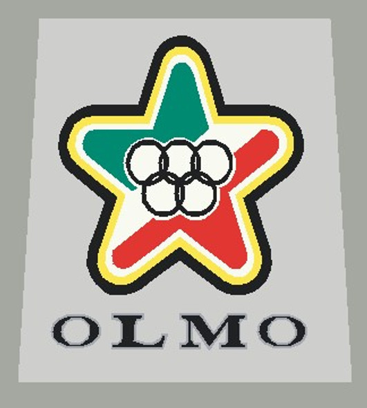 Olmo Striped 1980's Head Badge Decal - Choose letter colors