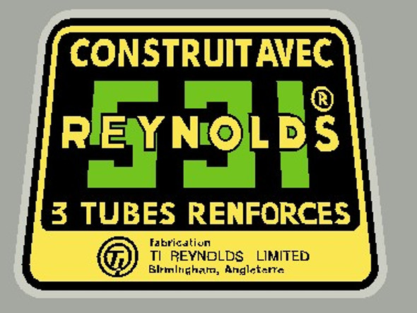 Reynolds 531 Construit Avec 3 Tubes Renforces Tubing decal- French - Green and yellow
