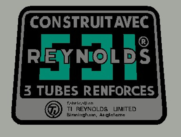 Reynolds 531 Construit Avec 3 Tubes Renforces Tubing decal- French - Green on Chrome