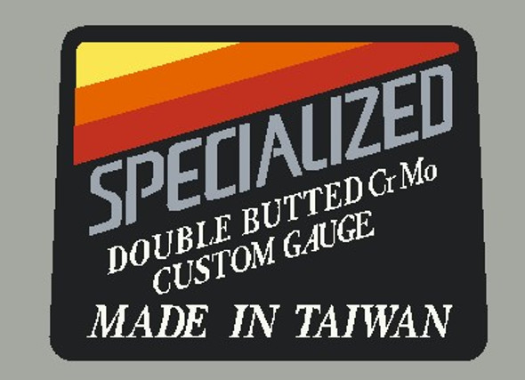 Specialized Double Butted Custom Gauge CrMo Made in Taiwan Tubing Decal on Chrome Vinyl