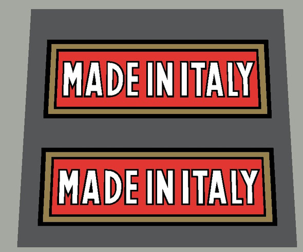 Made in Italy Block Letter Decals - Gold Frame (1 Pair)