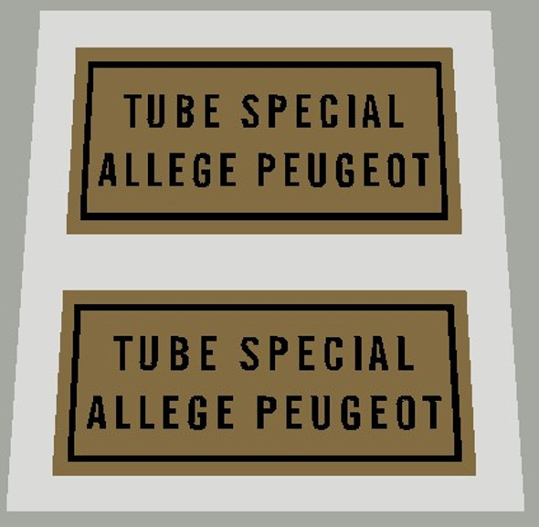 Peugeot Tube Special Allege Tubing Decal - 1 Pair