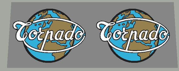 Torpado Globe Large Head Badge Decal - Black outline/Metallic Gold Continents - 1 Pair
