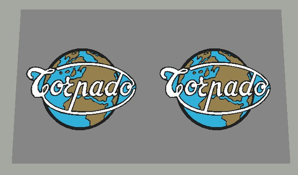 Torpado Seat Tube Decals - Black outline/Metallic Gold Continents - 1 Pair