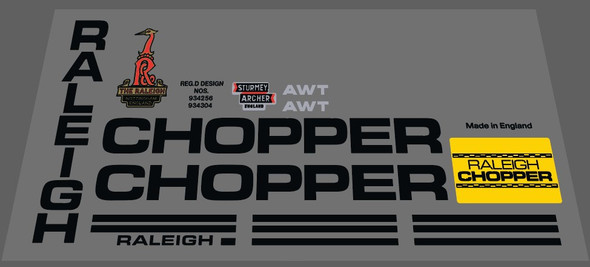 Raleigh Chopper AWT Bicycle Decal Set