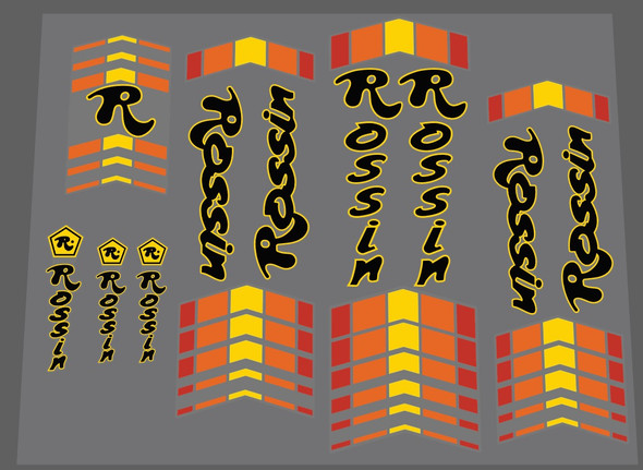 Rossin Black/Yellow Bicycle Decal Set