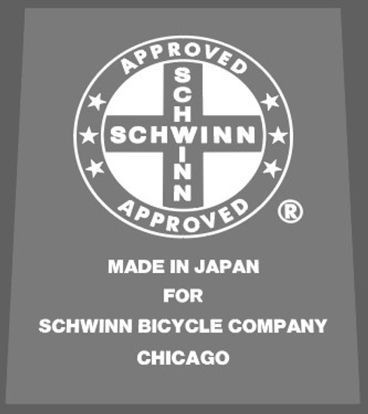Schwinn Approved/Made in Japan  Clear Center Seat Tube Decal - Choice of Color on Clear