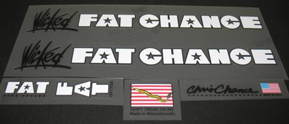Fat Chance Wicked Bicycle Decal Set - White/Black