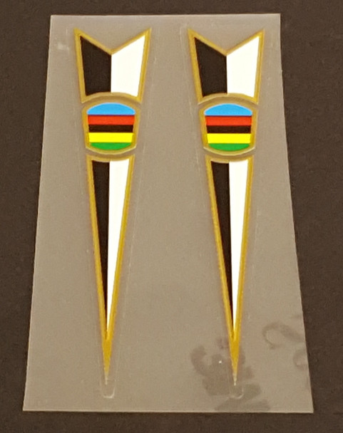Peugeot  Fork Decals  - Spears with Olympic Colors - 1 Pair