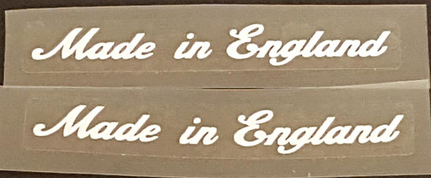 Made in England Decals - Small White Script - 1 Pair