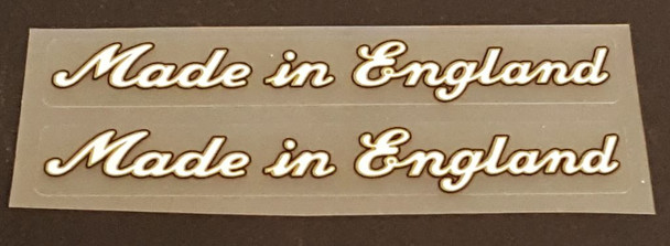 Made in England Decals - Large White/Gold/Black - 1 Pair