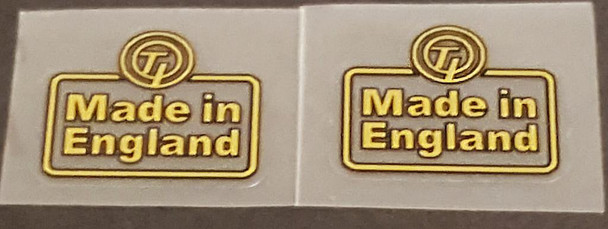 Made in England T.I. Decals -Gold/Black - 1 Pair