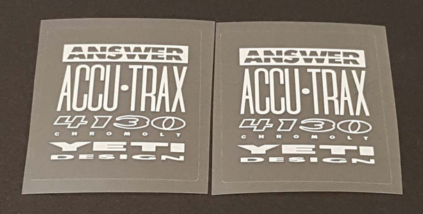 Yeti Answer 4130 Tubing Decals - 1 Pair - White/Clear