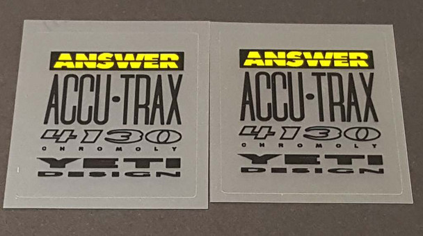 Yeti Answer 4130 Tubing Decals - 1 Pair - Black - Choose Accent Color