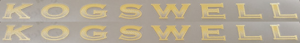 Kogswell Gradient Down Tube Decals - 1 Pair - Mirror Gold Outline