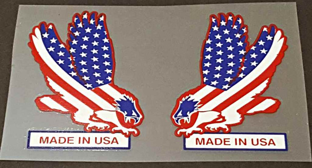 Made in USA Flag/Eagle Decals - 1 Pair