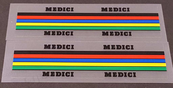 Medici Bicycle Stripes Decals - 1 Pair - Choose Letter Color