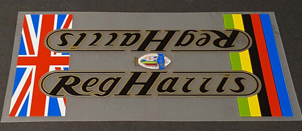 Reg Harris Bicycle Down Tube Wrap Decal - Choose Letter Colors
