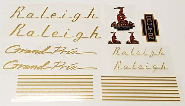 Raleigh 1970s Grand Prix Bicycle Decal Set - Gold