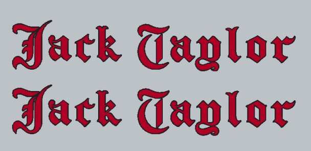 Jack Taylor Bicycle Old English Down Tube Decals - Choose Color