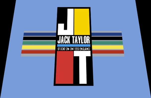 Jack Taylor Bicycle Head Badge Decal with Stripes