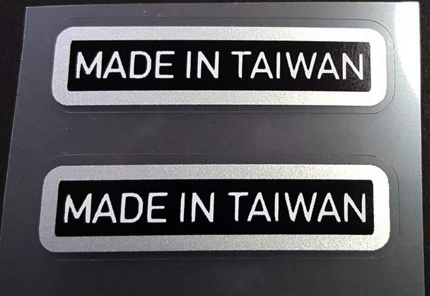 Made in Taiwan Declas - Chrome on Black (large) - 1 Pair