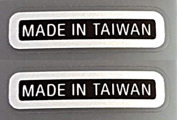 Made in Taiwan Decals - Chrome on Black (small) - 1 Pair