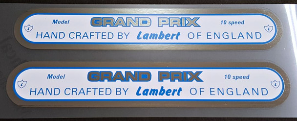 Lambert Grand Prix 10 Speed Down Tube Decals - 1 Pair - Chrome