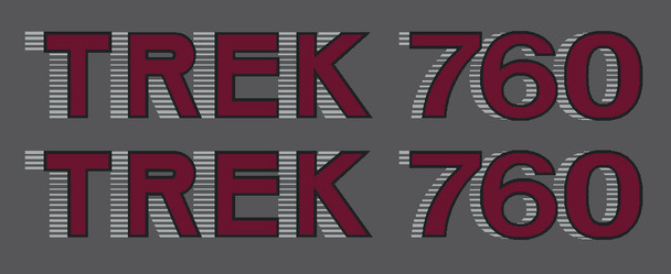 1984 Trek 760 Down Tube Decals  - 1 Pair (Choice of Materials and Colors)
