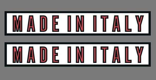 Made in Italy Decals - Chrome frame, Black outline- White background - Red letters- (1 Pair)