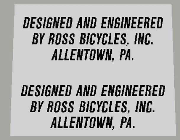Ross Designed and Engineered by Ross Bicycles Decal - 1 Pair - Choose color