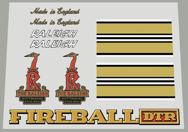 Raleigh FIREBALL DTR Bicycle Decal Set - Rale-S167
