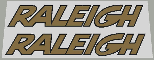 Raleigh Large Classic Down Tube Decals - 1 Pair - White/Black