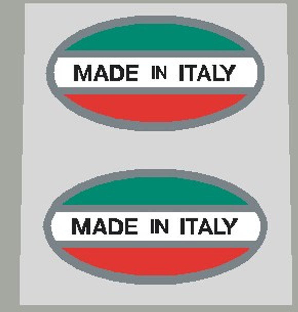 Made in Italy Decals - Oval (Red/White/Green) on chrome - 1 Pair